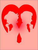 Couple Heart. A couple with a heart background, thinking of each other royalty free illustration