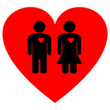 Couple on a Heart Royalty Free Stock Photography