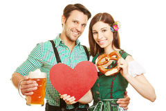 Couple with heart and beer at Stock Photo