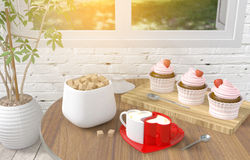 Couple heart cappuccino coffee cups with strawberry cupcake dessert on table, concept of love and couple Stock Images