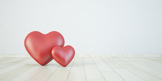 Couple heart in 3d, love concept Royalty Free Stock Photos