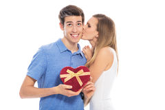 Couple with heart-shaped box Stock Photography