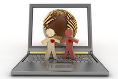 Couple with heart on their chest on laptop Royalty Free Stock Image