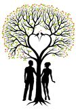 Couple with heart tree, vector background stock illustration