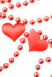 Couple  hearts. Pair of hearts with the beads during the day of saint Valentina Stock Photography