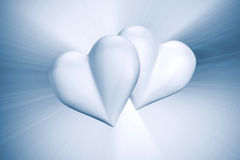 Couple hearts. Blue tint. 3D-render image Stock Illustration