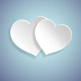 Couple hearts on the blue background. Vector illustration of couple hearts on the blue background, paper cutout art style royalty free illustration