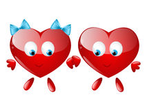 Couple of hearts character Stock Photos