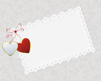 Couple of hearts and congratulation card Royalty Free Stock Photos