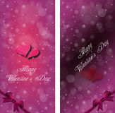 Couple of hearts on the dark red and violet background with snow Royalty Free Stock Photography