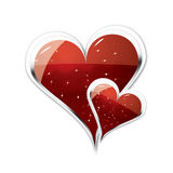 Couple of Hearts illustration. Two big strong hearts isolated on white background with a shine on them Royalty Free Stock Photos