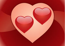 Couple hearts. Postcard Royalty Free Stock Photography