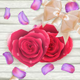 Couple Hearts of red roses on wood. EPS 10 Royalty Free Stock Photo