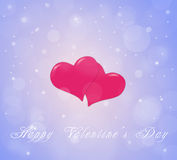Couple of hearts on the sky blue red background with snow Royalty Free Stock Photography