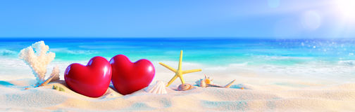 Couple Of Hearts On Tropical Beach royalty free stock images