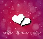 Couple of hearts on the violet red background with snow Stock Image