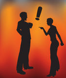 Couple in a Heated Argument. Vector illustration of a Man and Woman Heated Argument with a gradient mesh background that looks like fire Royalty Free Stock Photos