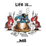 Couple in hell`s boiler being boiled by hell demons. Surrounded with bills Royalty Free Stock Photos