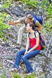 The couple in the hike Stock Photos