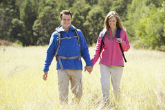 Couple On Hike In Beautiful Countryside Stock Image