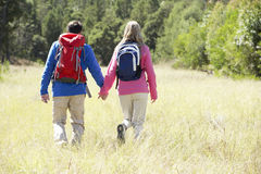 Couple On Hike In Beautiful Countryside Stock Photography
