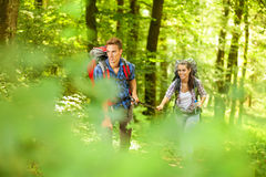 Couple on a hike Stock Image