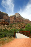 Couple Hike Pa'rus Trail - Zion National Park Royalty Free Stock Photos