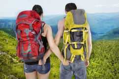 Couple of hikers Stock Photo