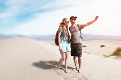 Couple of hikers royalty free stock photos