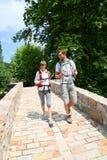 Couple of hikers enjoying trip stock photo
