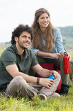 Couple of hikers have a break Royalty Free Stock Photo