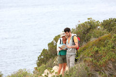 Couple of hikers on holidays royalty free stock photography