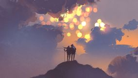 Couple of hikers looking at many suns in the sky. Couple of hikers on top of mountain looking at many suns in the sky, digital art style, illustration painting Royalty Free Stock Photography
