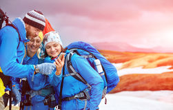 Couple hikers un the Islandic mountains Royalty Free Stock Photography