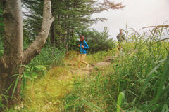 Couple of hikers walking down from hill in summer forest Royalty Free Stock Photo
