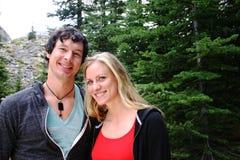 Couple hiking. A couple hiking near Lake Moraine Royalty Free Stock Photo