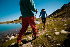 Couple hiking. In the mountain Royalty Free Stock Photos