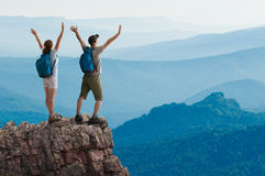 Couple hiking royalty free stock photos