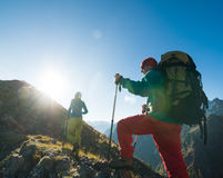 Couple hiking. In the mountain Royalty Free Stock Photography
