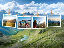 Couple hiking. In the mountain Royalty Free Stock Images