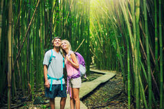Couple hiking through bamboo forest Royalty Free Stock Photo