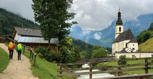 Couple hiking in Bavaria, Germany royalty free stock photography