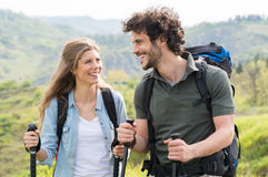Couple Hiking In Countryside Stock Photo