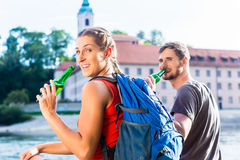Couple hiking at Danube Weltenburg monastery Stock Images