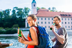 Couple hiking at Danube Weltenburg monastery Stock Image
