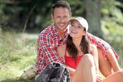 Couple on hiking day Stock Photo