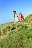 Couple on a hiking day sightseeing Royalty Free Stock Images