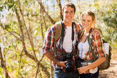 Couple hiking forest Stock Photos