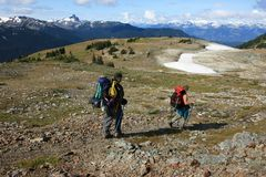 Couple Hiking in Garibaldi Provincial Park Royalty Free Stock Image