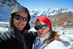 Couple Hiking in Himalaya, man and woman self port Royalty Free Stock Image